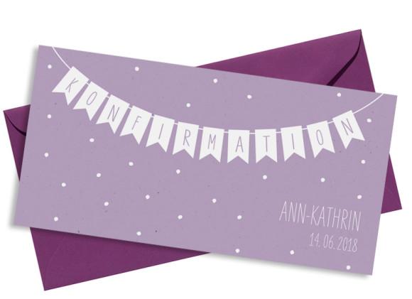 Konfirmationseinladung , Motiv: Wimpelkette, mit Briefhülle, Farbvariante: Lila