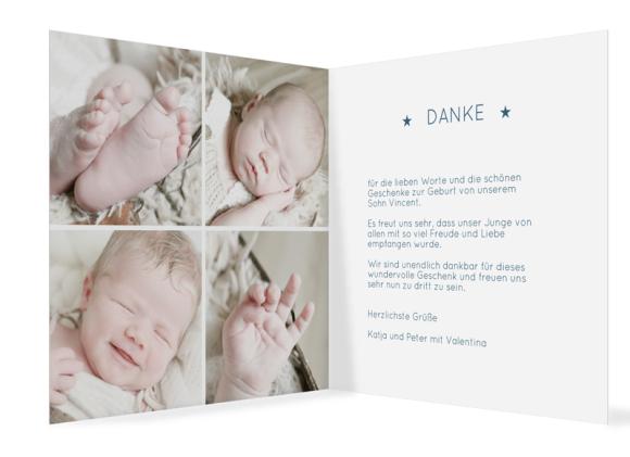 Danksagung Geburt (quad. Klappkarte, 5 Fotos), Motiv: Valentina/Vincent, Innenansicht, Farbvariante: dunkelblau
