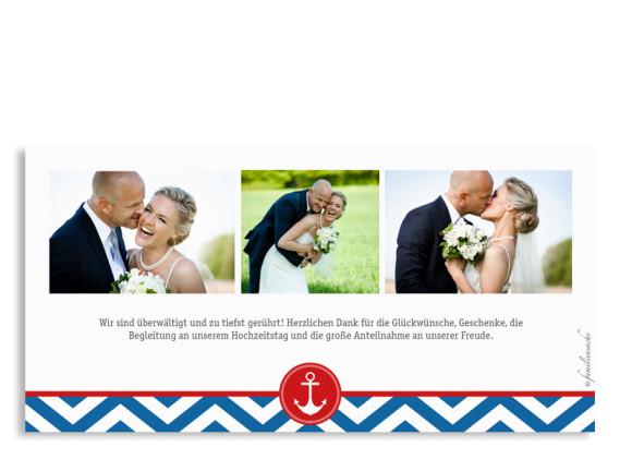 Danksagungskarten zur Hochzeit Hamptons Anchor, Rückseite der Farbversion: blau/rot
