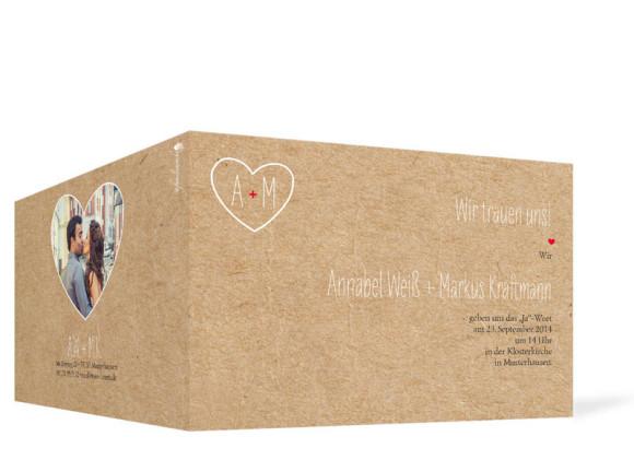 Einladungskarten Hochzeit Luzern, Außenansicht der Farbversion: beige