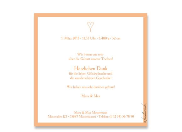 Rückseite, quadratische Postkarte zur Geburt, Motiv Johanna/Jacob, Farbversion: apricot