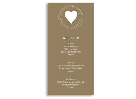 Rückseite, Menükarte zur Hochzeit (DIN Lang-Karte, zweiseitig), Motiv Pur, Farbversion: beige-weiss