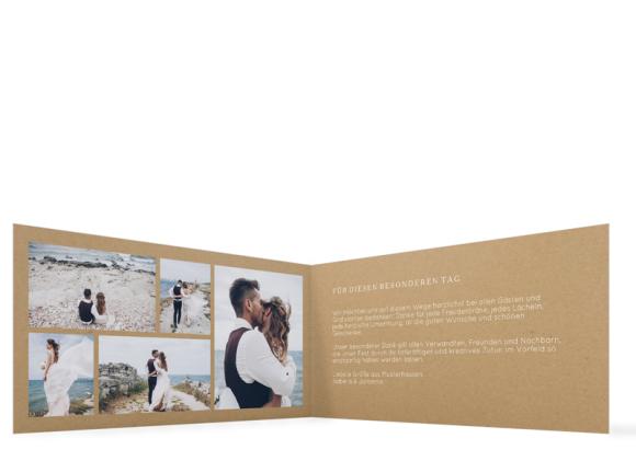 Hochzeitsdanksagungen (Klappkarte DL, mit 5 Fotos), Motiv: Malaga, Innenansicht, Farbvariante: weiss
