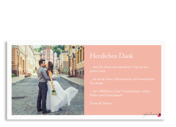 Hochzeitsdanksagung Nizza, Postkarte DL mit Foto, Rückseite, Farbversion: apricot