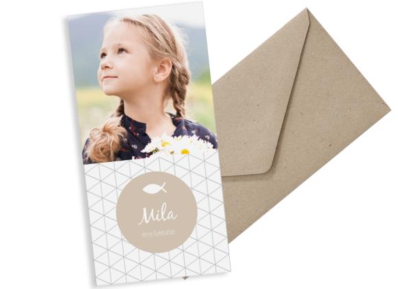 Kommunionseinladungen (Postkarte DL mit einem Foto), Motiv: Segen, mit Briefhülle, Farbvariante: beige