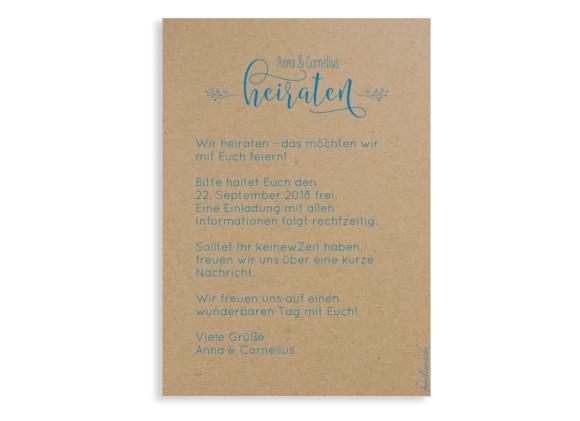 Save the Date (Postkarte), Motiv: Blumenkranz natural, Rückseite, Farbvariante: blau