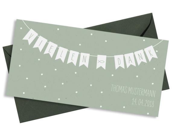 Danksagung zur Kommunion, Motiv: Wimpelkette, mit Briefhülle, Farbvariante: Grün