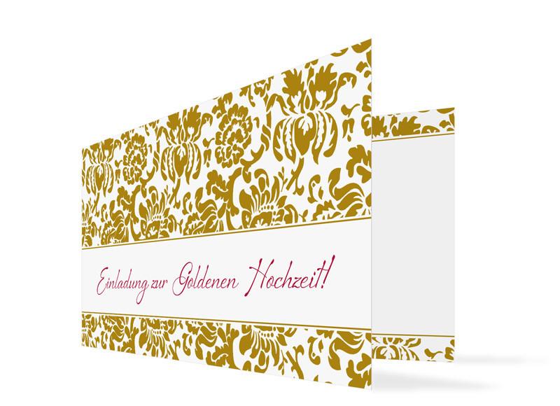 Einladungskarte Goldhochzeit Barcelona; Außenansicht, Einladungs Klappkarte  Zur Goldenen Hochzeit ...