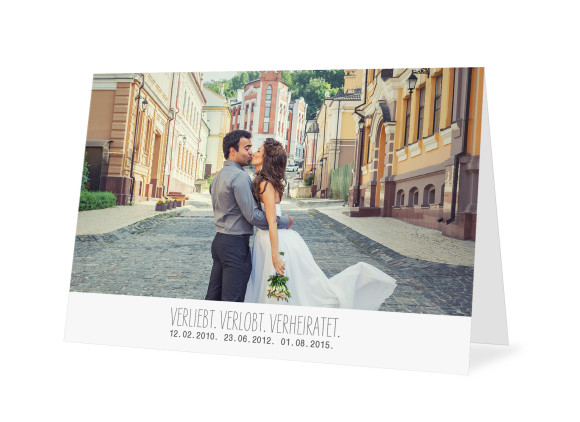 Danksagungskarten zur Hochzeit Blanche (Öffnung unten)