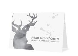 Weihnachtskarte Hubertus Schwarzgrau