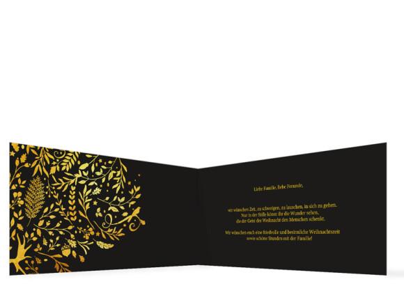 Weihnachtskarte Naturgold in schwarz, Innenansicht