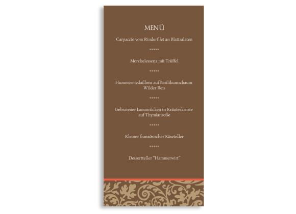 Rückseite, Menükarte zur Hochzeit (DIN Lang-Karte, zweiseitig), Motiv Rokko, Farbversion: beige_braun