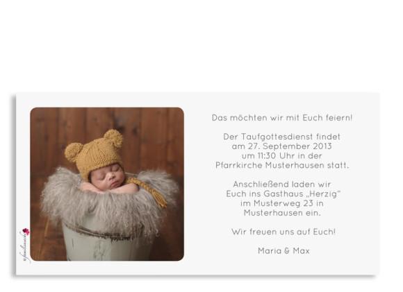 Postkarte Rückseite, Taufeinladung Ava/Avery, Farbversion: dunkelblau