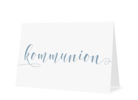 Einladungskarten zur Kommunion Calligraphy Petrol