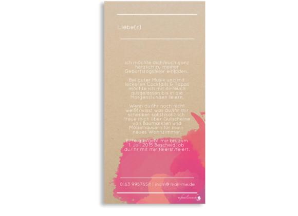 Einladungskarte Aquarell, Rückseite der Farbversion: gelb/pink