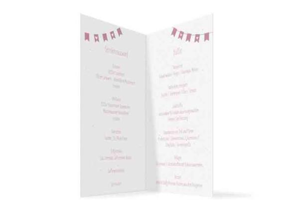 Menükarten zur Hochzeit, Motiv Wimpelkette, Innenansicht, Farbvariante: altrosa