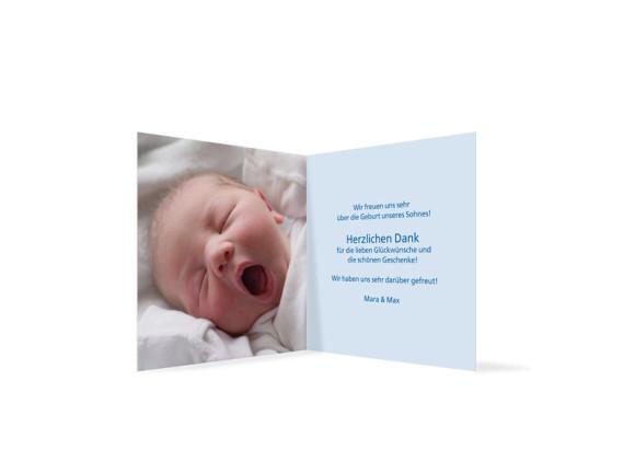 Innenansicht, Klappkarte zur Geburt, Motiv Luise/Laurin, Farbversion: blau