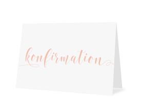 Einladungskarten zur Konfirmation Calligraphy Apricot