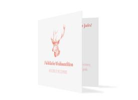 Firmen-Weihnachtskarte Pure Deer (Klappkarte, quad.) Apricot