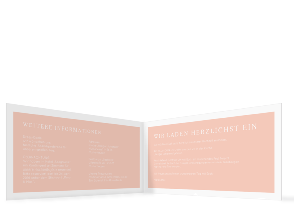 Einladungskarten Hochzeit (Klappkarte DL), Motiv: Brisbane, Innenansicht, Farbvariante: apricot