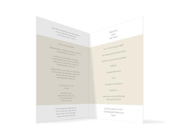 Kirchenheft zur Taufe Dolores/Dominik, Innenansicht der Farbversion: beige