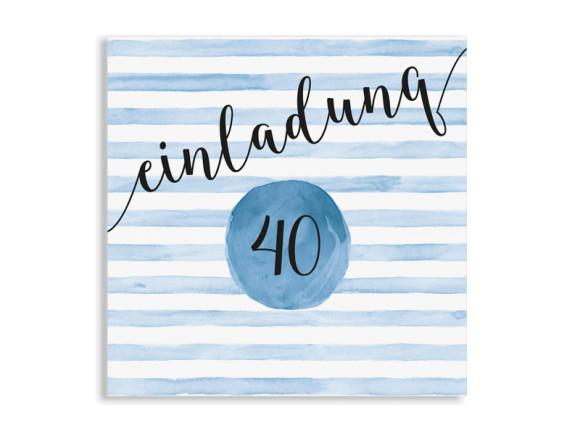 Einladung 40. Geburtstag Dots 'n Stripes