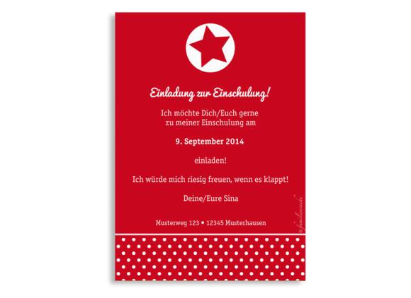 Einladung zur Einschulung, Motiv Sternstunde, Rückseite, Farbversion: rot