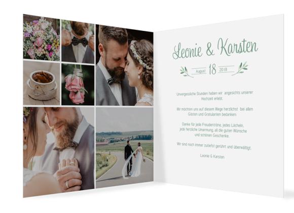 Danksagungskarte Hochzeit (Klappkarte, quadr.), Motiv: Blätterkranz, Innenansicht, Farbvariante: gruen