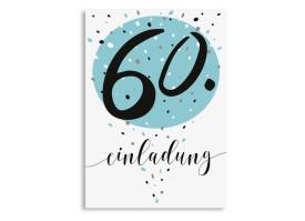 Einladung zum 60. Geburtstag Konfetti Aqua