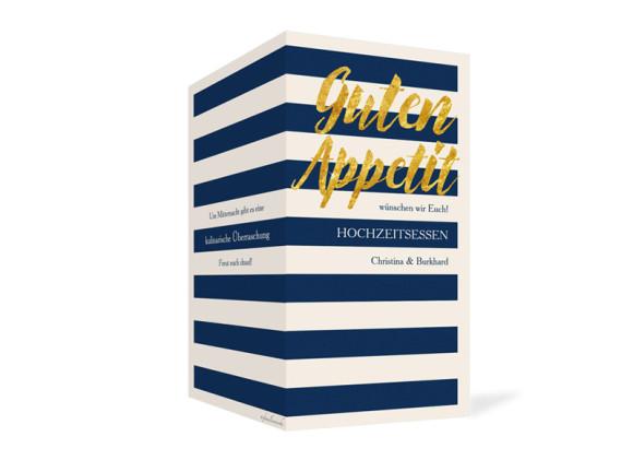 Außenansicht, Klappkarte zur Hochzeit (Einladung), Motiv Monaco, Farbversion: blau