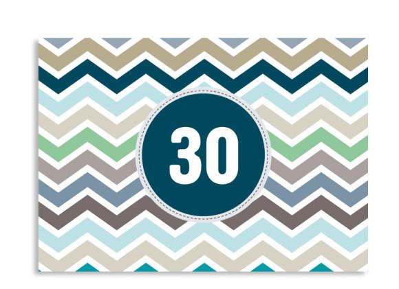 Einladung zum 30. Geburtstag ZigZag (Postkarte, ohne Foto)