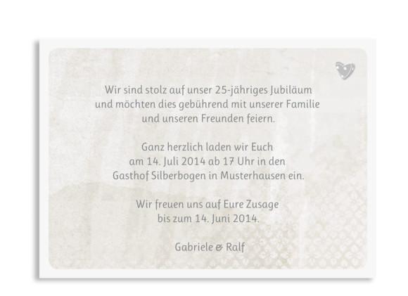 Einladungen Silberhochzeit Turteltauben, Rückseite der Farbversion: grau