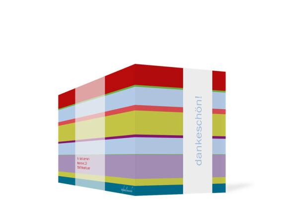 Außenansicht, Danksagungs-Klappkarte zur Taufe (Format DIN Lang), Motiv Franka/Fred, Farbversion: bunt/hellblau