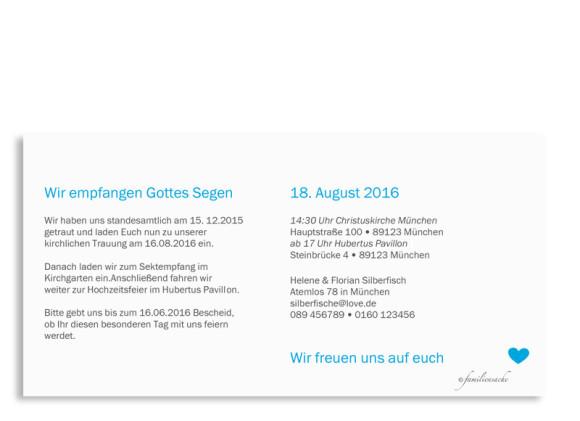 Einladungskarte zur Hochzeit München City, Rückseite in azur