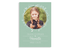 """Kommunionseinladung """"Henriette/Henry"""" (Postkarte Hochformat mit Foto) gruen"""