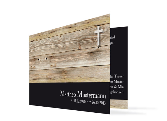 Trauerkarten Holz (Klappkarte C6)
