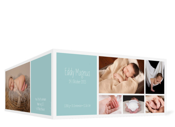 Babykarte (Klappkarte DIN Lang), Motiv: Efie/Eddy, Aussenansicht, Farbversion: eisblau