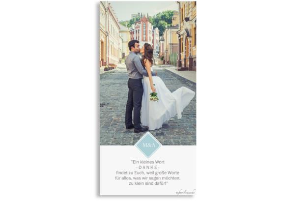 Danksagungen zur Hochzeit Brüssel, Rückseite in eisblau