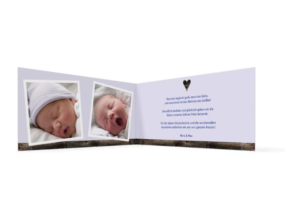 Innenansicht, Klappkarte zur Geburt, Motiv Heidi/Peter, Farbversion: blau
