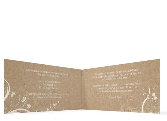 Goldhochzeit Einladung Cambridge, Innenansicht der Farbversion: beige
