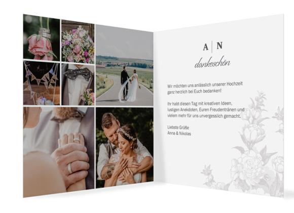 Danksagungen Hochzeit (Klappkarte mit sieben Fotos), Motiv: Bukarest, Innenansicht, Farbvariante: anthrazit