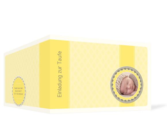 Außenansicht, Einladungen zur Taufe Käthe/Klaas, Farbversion: gelb