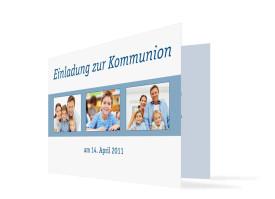 Kommunionseinladung Jette/Jannik (Klappkarte) Blau