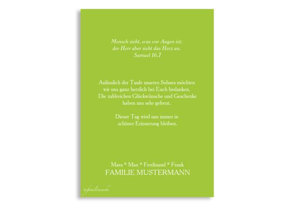 Danksagungen zur Taufe Felia/Frank, Rückseite in apfelgrün