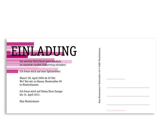 Rückseite, Einladungs-Postkarte zum Geburtstag, Motiv Technik, Farbversion: pink
