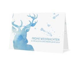 Weihnachtskarte Hubertus Blau