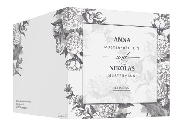 Einladungskarten Hochzeit (quadratische Klappkarte, ohne Foto), Motiv: Bukarest, Aussenansicht, Farbvariante: anthrazit