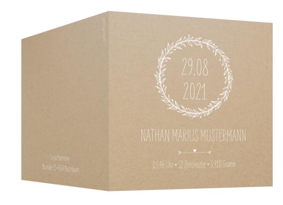 Geburtskarte (quadratische Klappkarte, 7 Fotos), Motiv: Nahla/Nathan, Aussenansicht, Farbvariante: weiss
