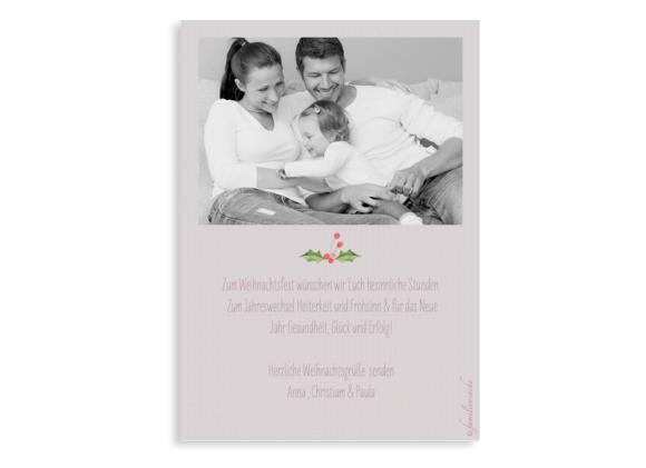 Weihnachtskarte (Postkarte, DIN-A6, ein Foto), Motiv: Weihnachtsmistel, Rückseite, Farbvariante: altrosa