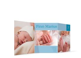 Geburtskarte Finja/Finn (Leporello) Blau